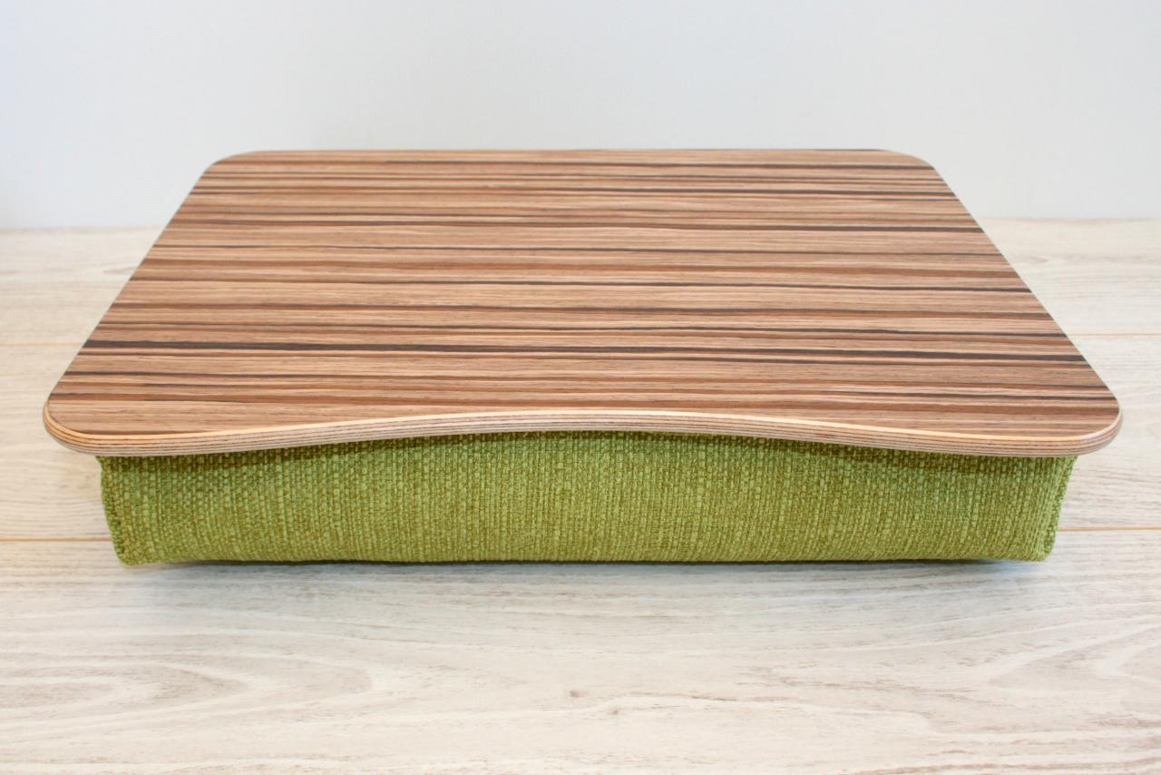 Wooden Laptop Bed Tray / iPad Table / Laptop Stand 'WiFi Dark' / Light Cushion