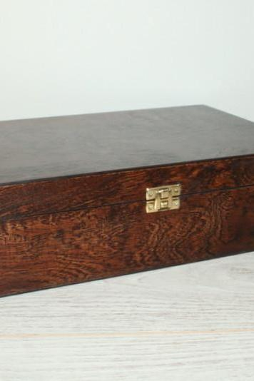 Wooden Keepsake / Jewelry / Storage Box 11.61 x 7.87 x 3.35 inch Dark Brown
