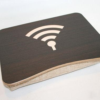 "Wooden Laptop Bed Tray / iPad Table / Laptop Stand ""WiFi Dark"" / Light Cushion"